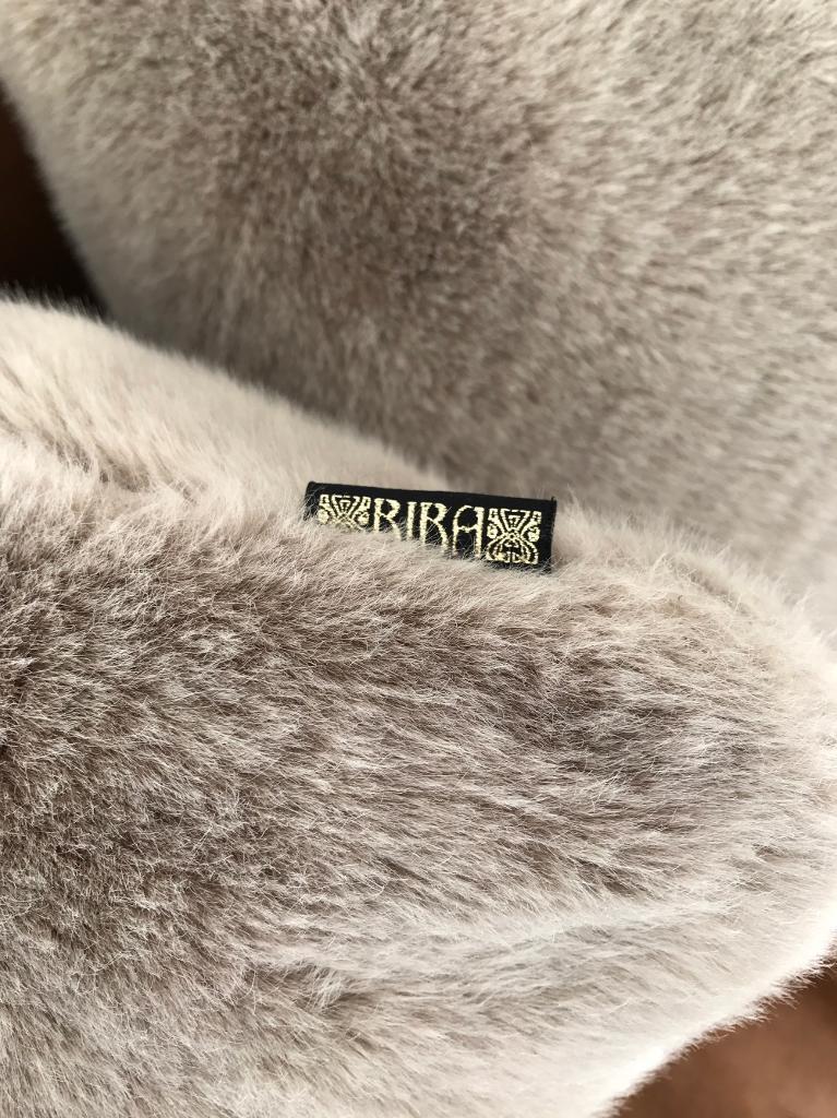 BIBA designer faux fur smoky grey cushions - NEW x5