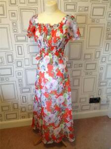 VINTAGE-70S-RED-FLORAL-CHIFFON-BOHO-MAXI-DRESS-SMALL-UK-8
