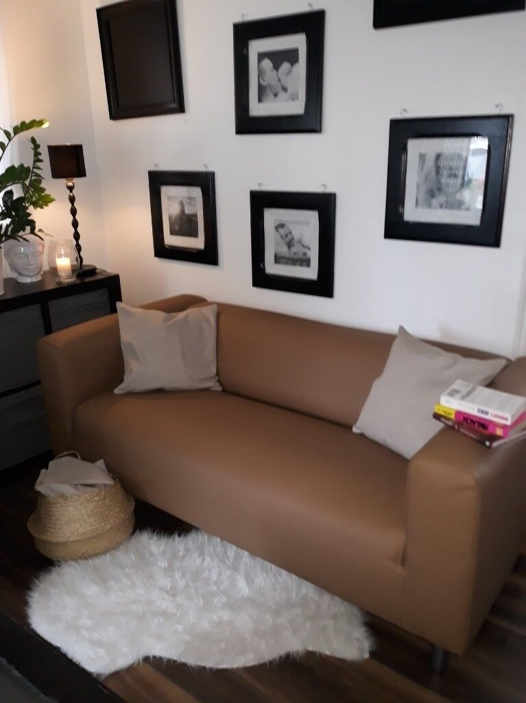 Brown Sofa In Faux Leather In Newcastle Tyne And Wear