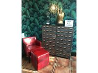 Red moc croc club chair & pouffee like chaise lounge bedroom seat