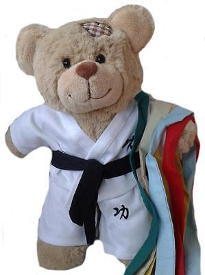"""KARATE OUTFIT W/ COLOUR BELTS  FITS 16""""/40cm TEDDIES & BUILD YOUR OWN BEARS"""
