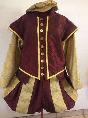 Mens Elizabethan Renaissance Shakespeare Doublet Slops/Breeches Hat, 2XL - 3XL