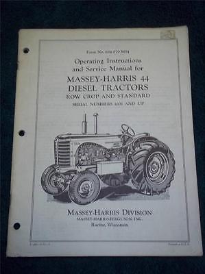 Massey-harris Operatingservice Manual 44 Diesel Tractorsrow Crop Standard