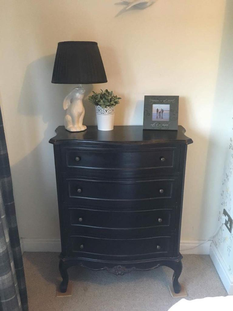 Ebony modern chic chest of drawers and mirror