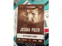 JOSHUA V PULEV VIP TICKETS SECTION C ROW K SEAT 1/2
