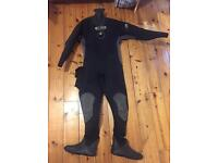 Nearly new O'three MSF 500tb Drysuit small with baselayer