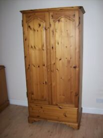 Pine Wardrobe, 2 door with drawer in base