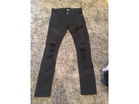 H&M Skinny Fit Biker Distressed Jeans
