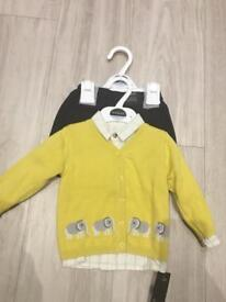 Boys M&S 3 piece outfit set cardigan shorts and shirts smart occasions wedding dinner