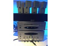 Bose x4 Jewel Cube speakers and Bose Centre speaker