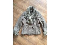Faux suede brown jacket from Wallis size 12. Fake fur lined with fake fur on neckline & sleeves.