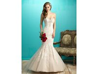 Unworn Wedding Dress size 12- elegant strapless gown with corset back. All over lace and applique.