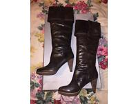 Ladies Real Leather Brown Rockport Knee Boots, high heel, BNIB, Size 7/41