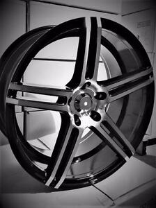 NEW! 18 inch STAGGERD BLACK and MACHINED FACE WHEELS!! WITH NEW TIRES!! - 5048
