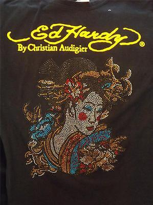 Ed Hardy Lady Short - Ed Hardy Short Sleeve Cotton Crew Neck  Asian Lady in Sequins Size Small