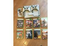 Xbox 360 - 2 controllers - 9 games - wireless adaptor