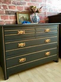 Vintage Solid Wood Hand Painted Chest of Drawers