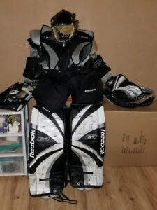 Goalie pads, mit, blocker, pants and chest protector for sale.