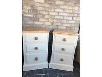 BEDSIDE CABINETS 3 DRAWERS SOLID PINE LARGE WITH SANDED TOP