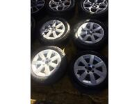 """15"""" GENUINE POLO VOLKSWAGEN ALLOY WHEELS MINT CONDITION WITH TYRES SET OF 4"""