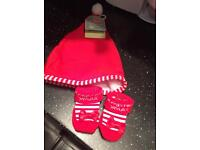 Baby's first Christmas hat and booties