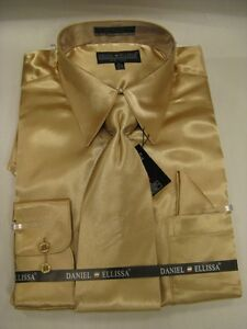 New-D-E-Satin-Dress-Shirt-w-Tie-and-Hanky-Gold-Taupe-Color-All-Sizes