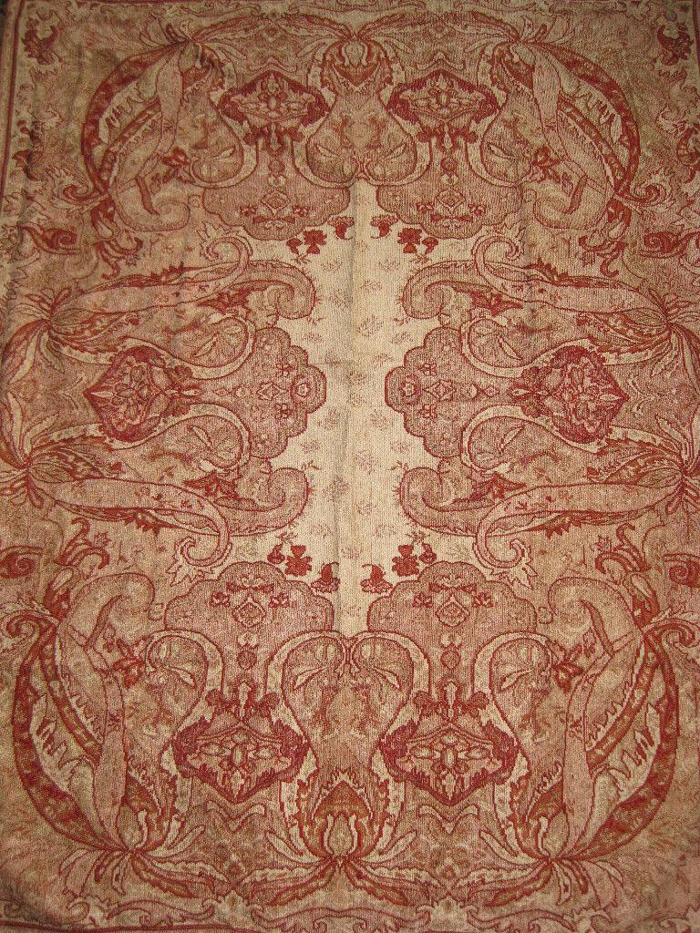 Kirklands Throw Blanket Chenille Tan Floral Burgundy Red Cozy $59.99 58x44