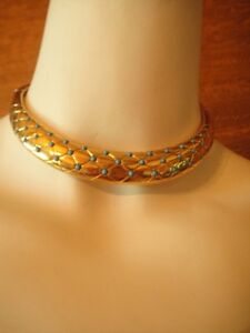 VINTAGE-GIVENCHY-70S-GOLD-TONE-GLAM-CHOKER-NECKLACE