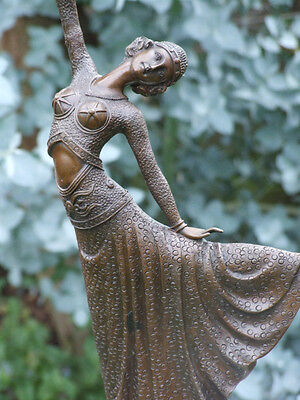 LOVEL1920's DECO NOUVEAU DANCER SIGNED CHIPARUS PURE HOTCAST BRONZE STATUE