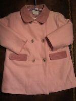 Adorable manteau en laine rose pour fille