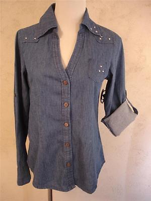 Yom Yom Denim Convertible Western Shirt Juniors M