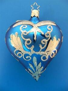 INGE GLAS BLUE SILVER BLOWN GLASS HEART GERMAN CHRISTMAS TREE ORNAMENT GERMANY