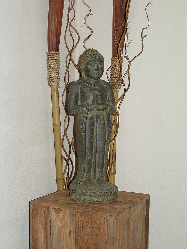 Buddha Steinguss Steinfigur Gartendeko Feng Shui Skulptur