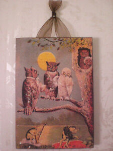 Vintage Owls Postcard Plaque