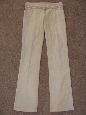 PAOLA FRANI BEIGE WOVEN KHAKI COTTON DRESS PANTS NWT 42