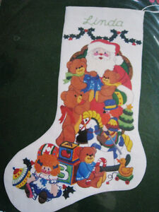 Crewel Stitchery Embroidery Christmas Stocking Kit A Visit