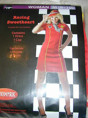 HALLOWEEN COSTUME Racing Sweetheart Dress Route 66 Diner Outfit Girl Cute M 8-10 (Halloween Racing Girl Costume)