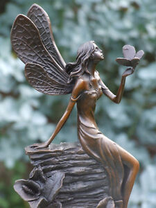 VERY BEAUTIFULLY DETAILED FAIRY PURE HOTCAST BRONZE STATUE SIGNED NO RESERVE