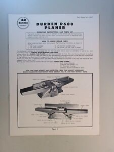DURDEN-P600-PLANER-JOINTER-OPERATING-INSTRUCTIONS-AND-PARTS-LIST-MANUAL