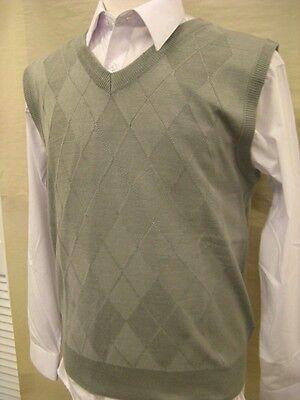 Men's Light Weight Sweater Vest Argyle Design Daniel Ellissa Lt Gray Kv 489