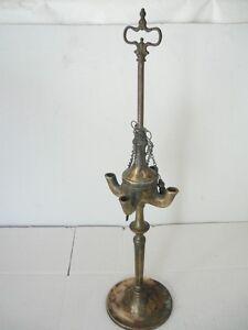 Antico Lume lampada ad olio Fiorentina in Ottone a 4 fiamme primi 900 ...