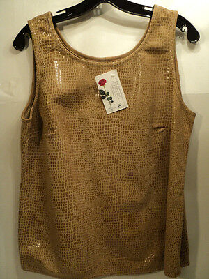 Fabulous Double D Ranchwear Leather dundee Tank, Camel, Size Medium -