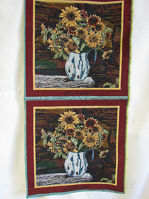 Sunflowers Blue Spongeware Pitcher Rustic Tapestry Fabric Pillow Top 2 Panels