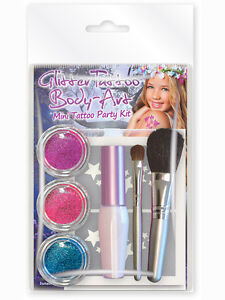 GIRLS-MINI-GLITTER-TATTOO-BODY-ART-KIT-WITH-24-MIXED-MINI-STENCILS