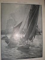 Torpedo Sinks Ketch W S Flower Near Gravesend Bernard Gribble 1901 Old Print -  - ebay.co.uk