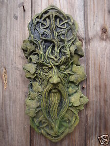 CELTIC GREEN MAN GREENMAN DECORATIVE WALL PLAQUE Frostprf STONE garden ornament