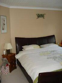 Super Kingsize Brown Leather Bed Frame (no mattress) - Superb condition