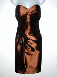 NWT-CALVIN-KLEIN-CK-Bronze-Metallic-Strapless-Cocktail-Dress-Size-6