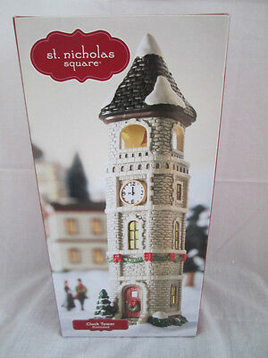 St. Nicholas Square Village Clock Tower Mint In Box