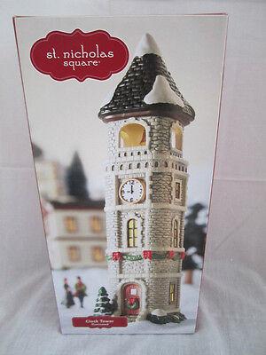 St. Nicholas Square Village Clock Tower Mint In Box